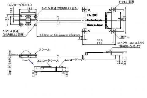 リニアエンコーダTA-200寸法図