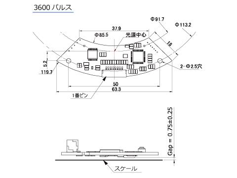 ロータリーエンコーダTAR-200(3600パルス)寸法図